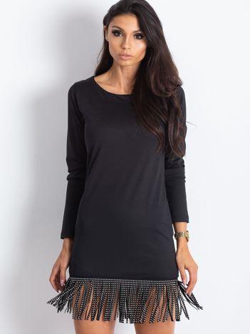 Sukienka z frędzlami i dzetami na dole czarna