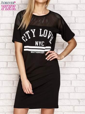 Sukienka z nadrukiem i siateczkową wstawką czarna