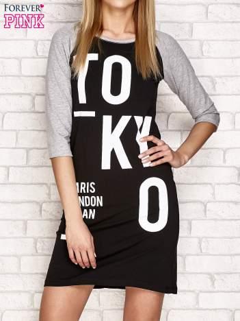 Sukienka z napisem TOKYO jasnoszara