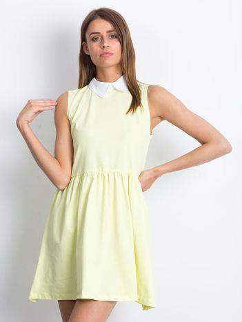 Sukienka żółta z kołnierzykiem
