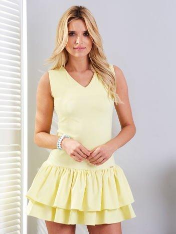 Sukienka żółta z obniżonym stanem