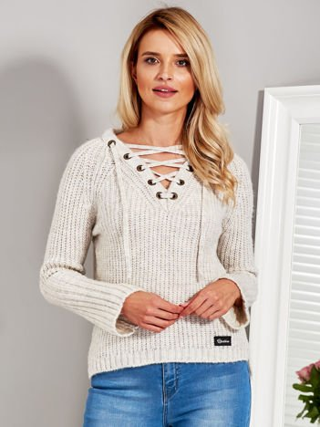 Sweter V-neck lace up beżowy