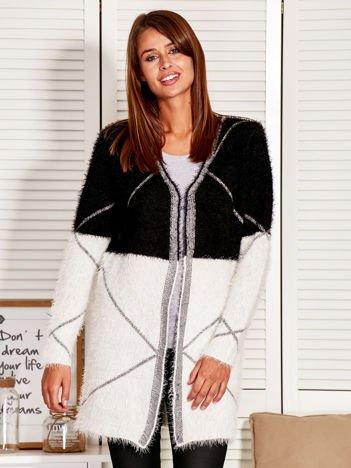 Sweter damski modułowy z otwartym dekoltem czarny