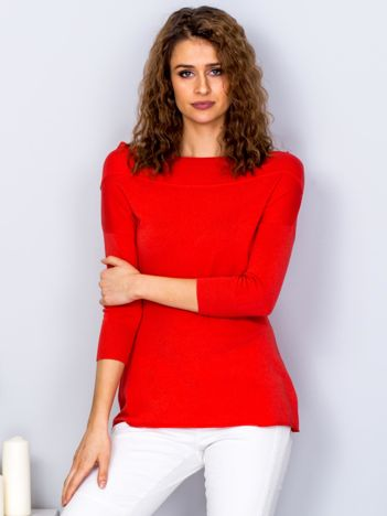 Sweter damski pomarańczowy z szerokim ściągaczem przy dekolcie