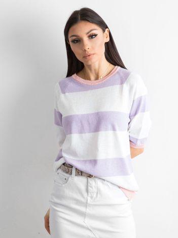 Sweter damski w paski fioletowy