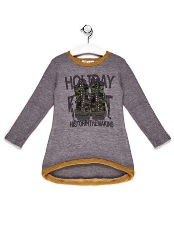 Sweter dla dziewczynki z nadrukiem moro szary