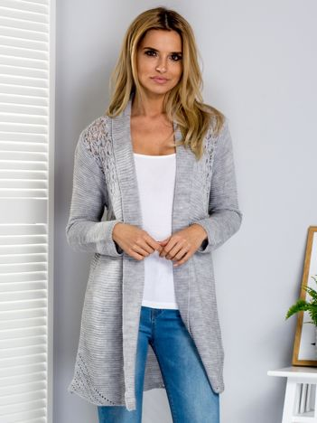 Sweter jasnoszary z ażurowym tyłem