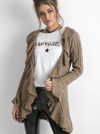Sweter z falbanami brązowy