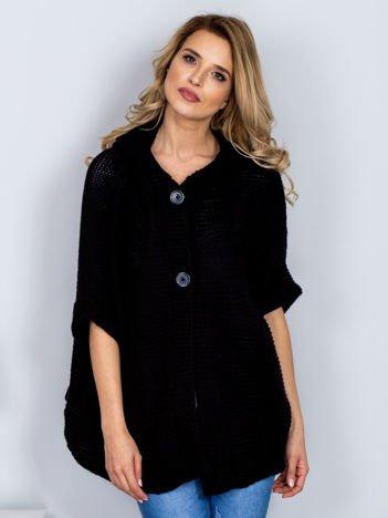 Sweter z kapturem i guzikami czarny