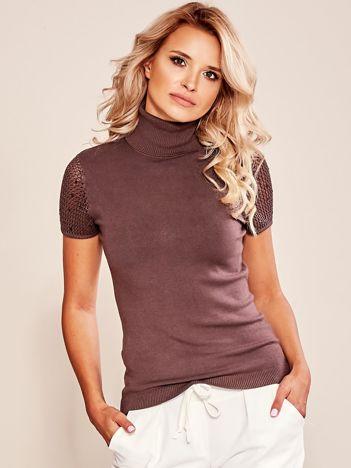 Sweter z krótkim rękawem brązowy