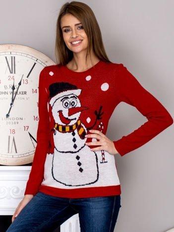Świąteczny sweter damski z bałwankiem czerwony