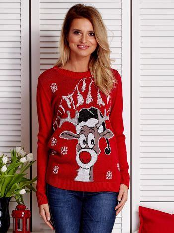 Świąteczny sweter damski z reniferem ciemoczerwony
