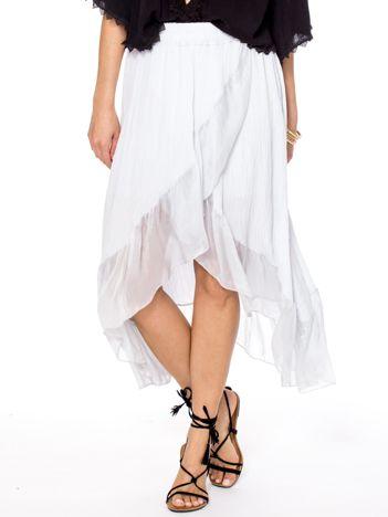 Szara asymetryczna spódnica z falbanami