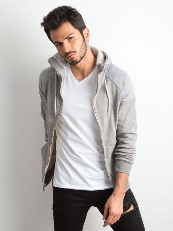 Szara bawełniana bluza męska z kapturem