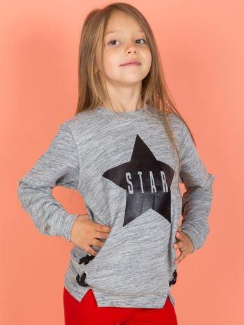 Szara bluza dla dziewczynki z nadrukiem gwiazdy