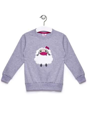 Szara bluza dla dziewczynki z owieczką