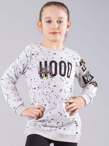 Szara bluza dziewczęca z nadrukiem i koralikami