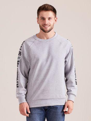 Szara bluza męska z napisem na rękawach