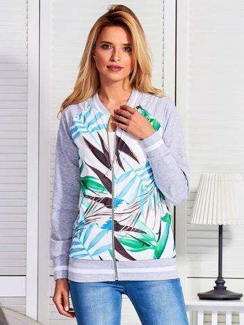 Szara bluza o kroju bomberki z egzotycznym printem
