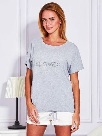 Szara bluzka z błyszczącym napisem LOVE