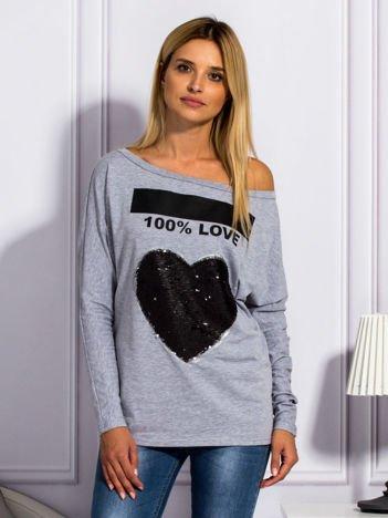Szara bluzka z cekinowym sercem