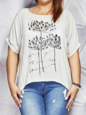 Szara bluzka z motywem roślinnym PLUS SIZE