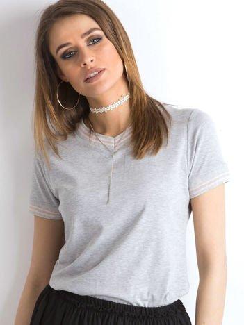 Szara bluzka ze ściągaczami w paski