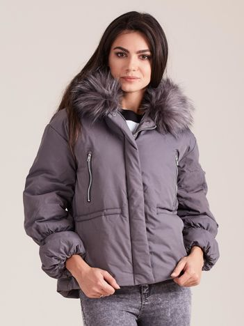 Szara damska kurtka na zimę