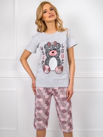 Szara damska piżama z krótkim rękawem