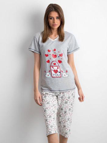Szara dwuczęściowa piżama damska
