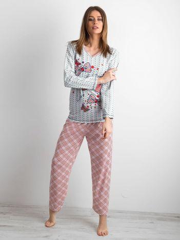 Szara dwuczęściowa piżama we wzory