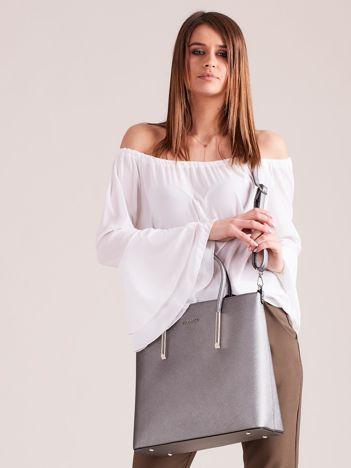 Szara elegancka torba z metalicznym połyskiem