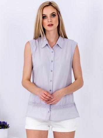 Szara koszula z ażurową wstawką