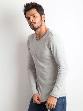 Szara koszulka męska z długim rękawem