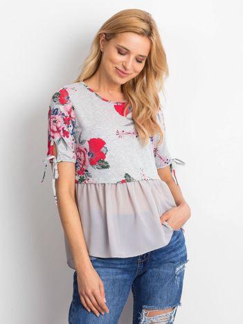 Szara kwiatowa bluzka z szyfonowym dołem