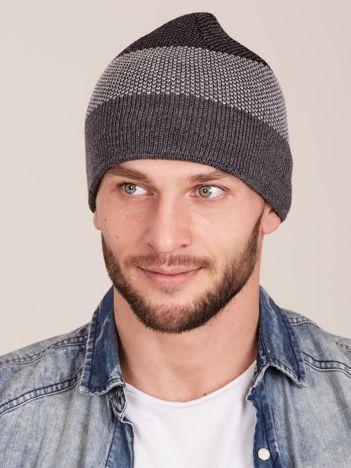 Szara męska czapka w pasy