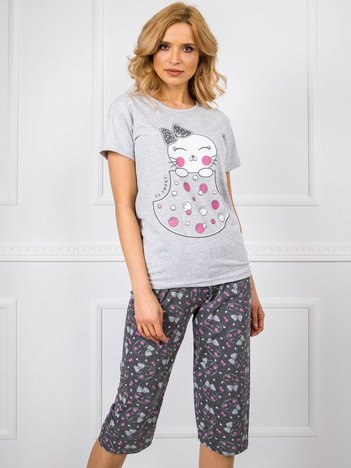 Szara piżama damska we wzory