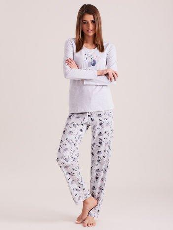 Szara piżama w koty