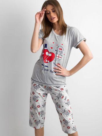 Szara piżama z nadrukiem