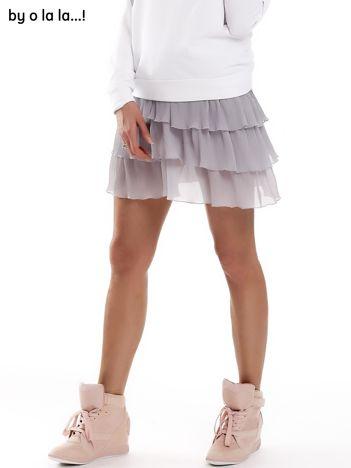 Szara plisowana spódnica z warstwowymi falbanami BY O LA LA