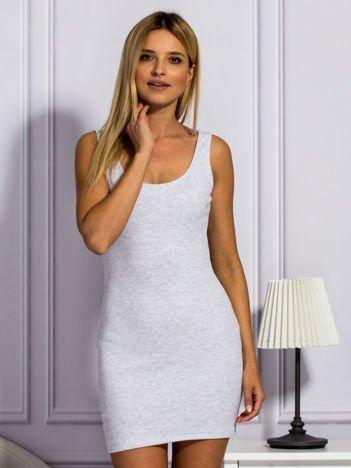 Szara prążkowana sukienka