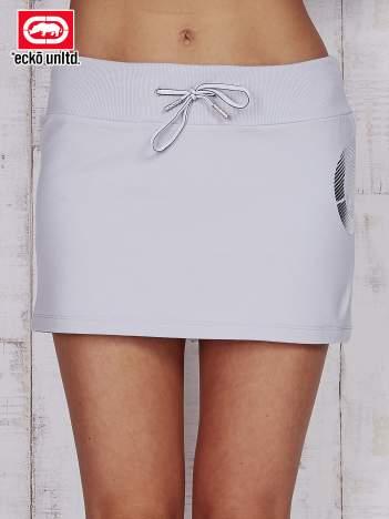 Szara spódnica ze srebrnym nadrukiem