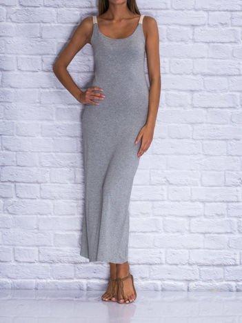 Szara sukienka letnia maxi z wiązaniem