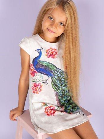 Szara sukienka z pawiem