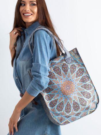 Szara torba filcowa z kolorowym wzorem