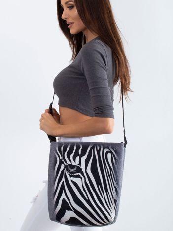 Szara torba filcowa z nadrukiem zebry