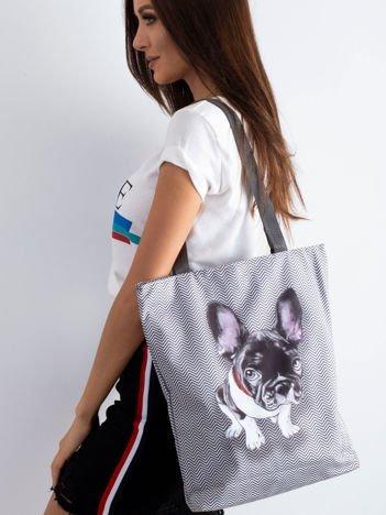 Szara torba materiałowa z psem
