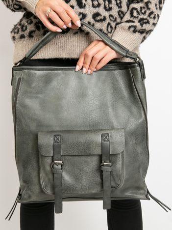 Szara torba z eko skóry z kieszenią