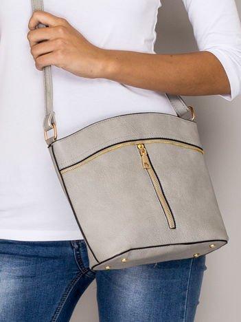 Szara torebka ze złotymi suwakami