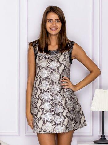 Szara trapezowa sukienka z motywem wężowej skóry